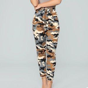 Celine Tie Waist Camouflage Pants XS